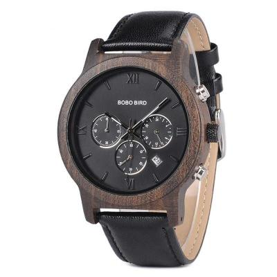 Dřevěné Hodinky BB Black Walnut Leather Wood Chronograph